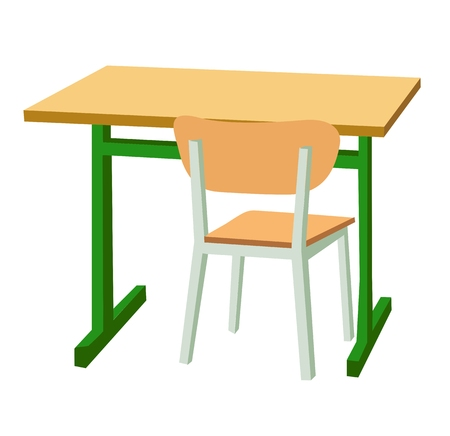 Ilustración de School desk and a chair. Vector flat color illustration isolated on white background. - Imagen libre de derechos