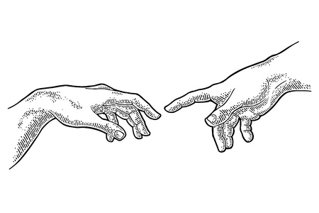 Illustration pour Male finger pointing touch god hand. The Creation of Adam. - image libre de droit