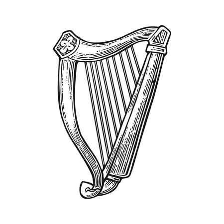 Ilustración de Lyre. Vector vintage engraving black illustration isolated on white background. - Imagen libre de derechos