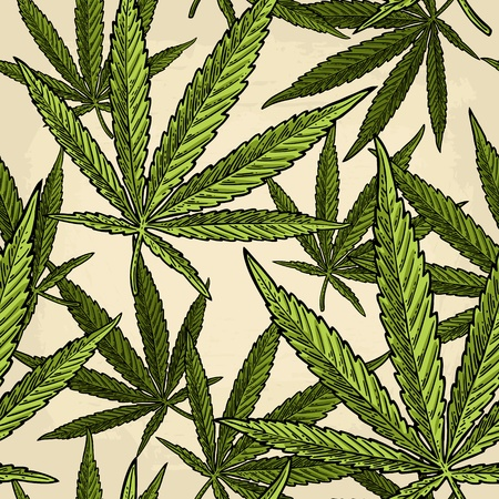 Ilustración de Seamless pattern with marijuana leaf. Vintage black vector engraving illustration - Imagen libre de derechos
