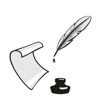 Illustration pour Feather, inkwell, roll paper. Vector gray flat illustration. Isolated on white background - image libre de droit