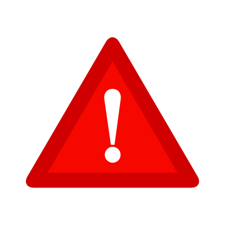 Illustrazione per Red triangle caution warning alert sign vector illustration, isolated on white background. Be careful, do not, stop symbol and web icon. - Immagini Royalty Free