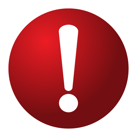 Ilustración de Red and white circle warning alert sign vector illustration. Caution 3d attention sign red and white. White exclamation point. Note, care, notice mark - Imagen libre de derechos