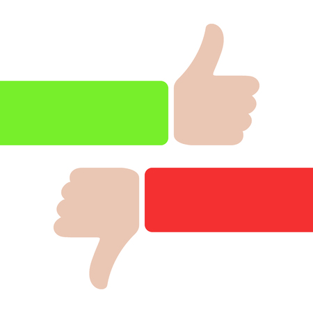 Illustration pour thumbs up and thumbs down, like and dislike concept. red and green hands with thumbs up or down. love or hate. plus, minus. true or false icon sign - image libre de droit