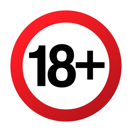 Illustration pour Under eighteen years prohibition sign, adults only, vector illustration. Not allowed for teenagers or people before 18 years old. Parental control. Circle red sign with numbers crossed - image libre de droit