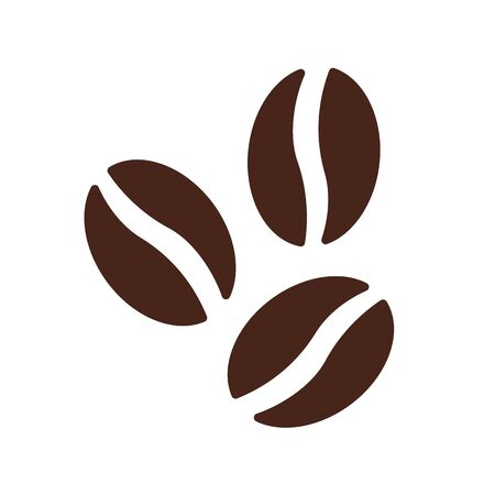 Illustration for Coffee beans symbol icon vector brown cafe flat. - Royalty Free Image