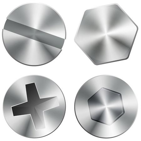 Illustration pour Metal shiny screws and bolts - image libre de droit