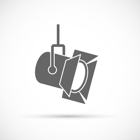 Illustration pour Movie spotlight icon. Film industry vector icon - image libre de droit