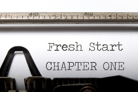 Photo for Fresh start chapter one printed on an old typewriter - Royalty Free Image