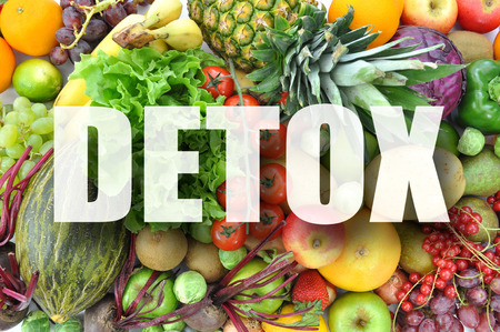 Photo for Detox text over assorted fruits and vegetables - Royalty Free Image