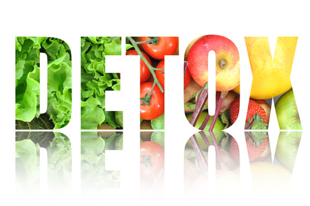 Photo for Detox text made from fruits and vegetables - Royalty Free Image