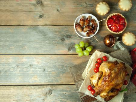 Photo pour Thanksgiving and christmas background with copyspace - image libre de droit