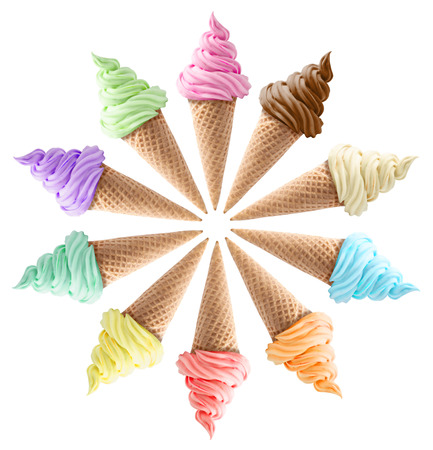Foto de isolated mixed ice creams in cones on white background - Imagen libre de derechos