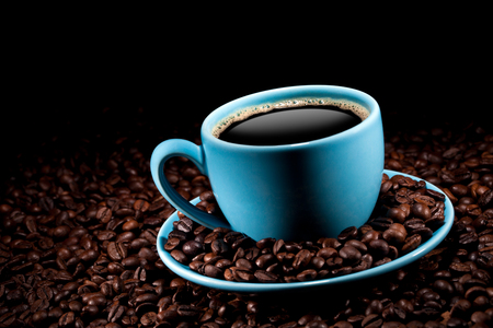Photo for coffee cup with coffee beans - Royalty Free Image