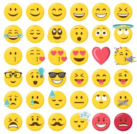 Ilustración de smileys emoticons vector set - Imagen libre de derechos