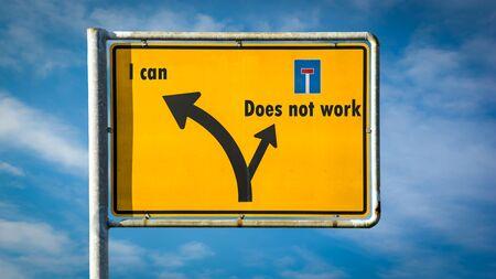Foto de Street Sign I can versus Does not work - Imagen libre de derechos
