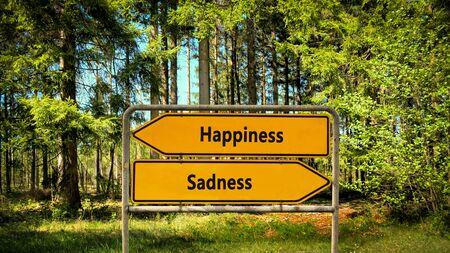 Foto de Street Sign the Direction Way to Happiness versus Sadness - Imagen libre de derechos