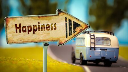 Foto de Street Sign the Direction Way to Happiness - Imagen libre de derechos