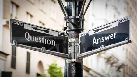Foto per Street Sign the Direction Way to Answer versus Question - Immagine Royalty Free