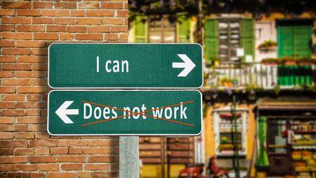 Foto de Street Sign the Direction Way to I can versus Does not work - Imagen libre de derechos
