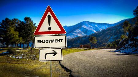 Foto de Street Sign the Direction Way to Enjoyment - Imagen libre de derechos