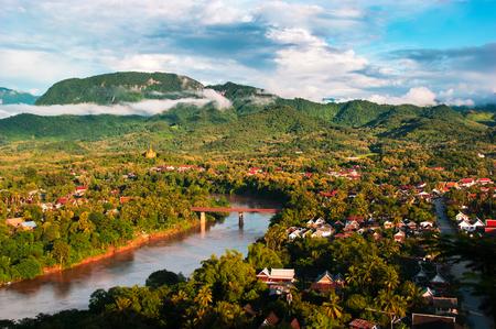 Photo pour Luang Prabang City landscape aerial view from Phu Si, Laos - image libre de droit