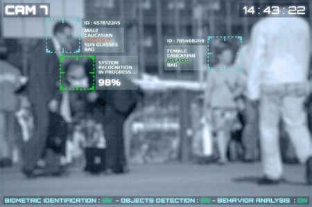 Foto de Simulation of a screen of cctv cameras with facial recognition - Imagen libre de derechos