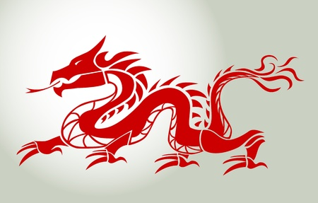 Red dragon mural