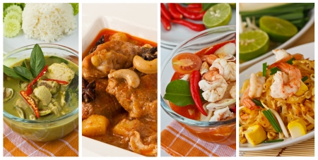 Collage images of popular Thai food (Green curry, Massaman curry, Tom yum kung, Pad Thai)