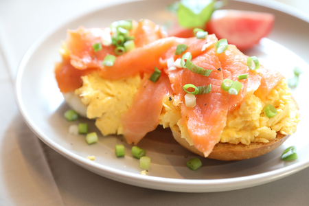 Photo for Scrambled eggs with smoked salmon on toast , Breakfast food - Royalty Free Image