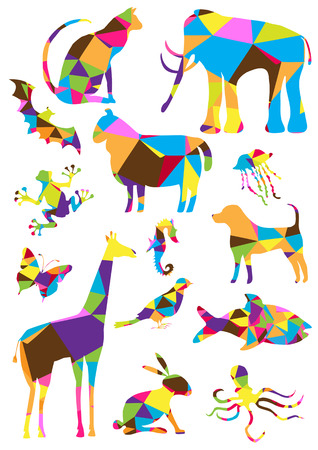 color collection of geometric polygon animals