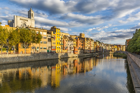 Photo for Colorful houses on the banks of the Onyar river in Girona - Royalty Free Image