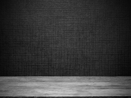 Photo pour wooden floor and black wallpaper with line embossed pattern for  background - image libre de droit