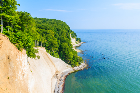 Photo for Chalk cliffs and blue sea in Jasmund National Park, Ruegen island, Baltic Sea, Germany - Royalty Free Image