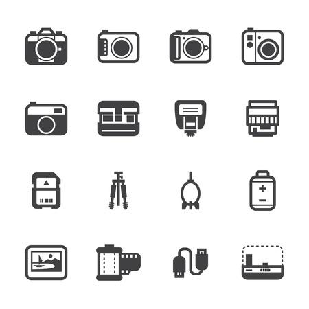 Ilustración de Camera Icons and Camera Accessories Icons with White Background - Imagen libre de derechos