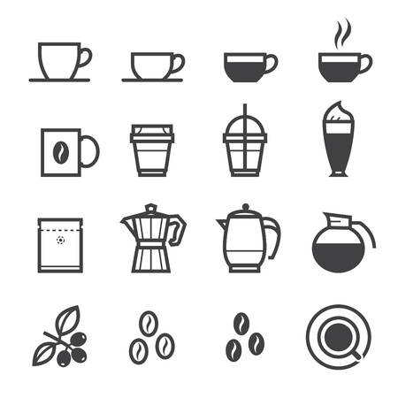Ilustración de Coffee icons and Coffee Shop with White Background - Imagen libre de derechos