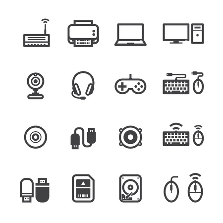 Ilustración de Computer Icons and and Computer Accessories Icons with White Background - Imagen libre de derechos