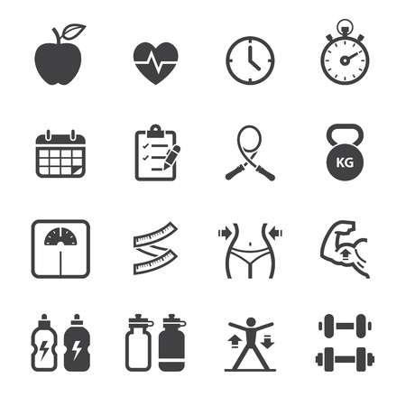Illustration for Fitness Icons and Health icons with White Background - Royalty Free Image