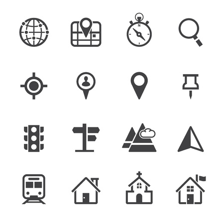 Ilustración de Map Icons and Location Icons with White Background - Imagen libre de derechos
