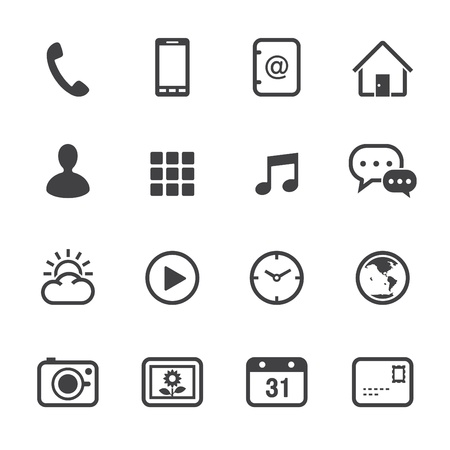 Ilustración de Mobile Phone Icons with White Background - Imagen libre de derechos