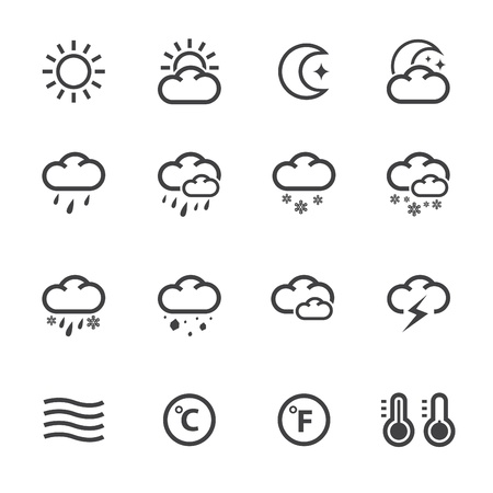 Illustration pour Weather Icons with White Background - image libre de droit