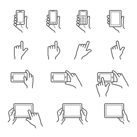 Illustration for Hand Touching Screen Icons - Royalty Free Image