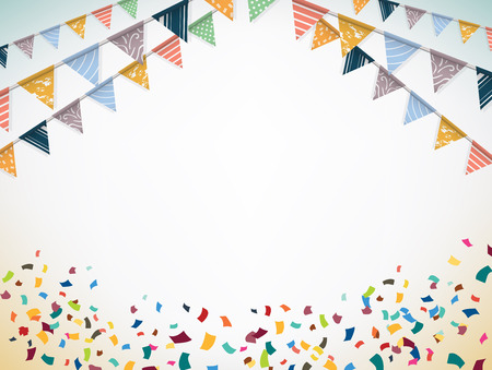 Illustration pour Celebrate banner. Party flags with confetti. Vector illustration. - image libre de droit