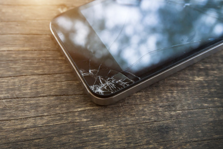 Photo for Broken screen of black smart phone. - Royalty Free Image