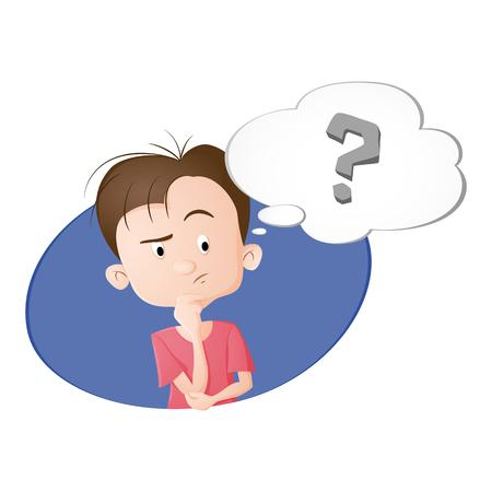 Ilustración de A boy thinking. A bubble with question sign. Drawn in cartoon style. Isolated on white background. - Imagen libre de derechos