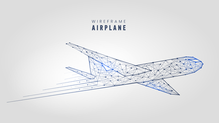 Illustration pour Polygonal airplane, wire frame structure template low poly plane on gray background vector illustration. - image libre de droit