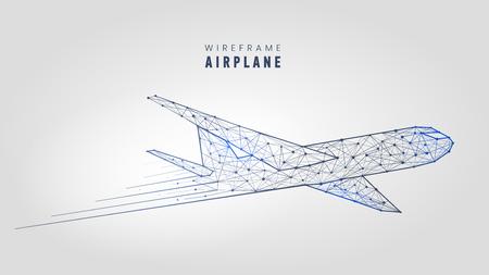 Ilustración de Polygonal airplane, wire frame structure template low poly plane on gray background vector illustration. - Imagen libre de derechos