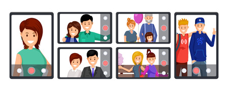 Illustration pour Group video call, conference vector illustration. People taking selfie, recording video, streaming live cartoon characters. Online communication, mobile technology, blogging business cliparts set - image libre de droit