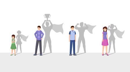 Illustrazione per Champions flat vector illustration. Smiling people with superhero shadow, cheerful men, woman and child cartoon characters. Superheroes with cape celebrating victory, personal attainment - Immagini Royalty Free