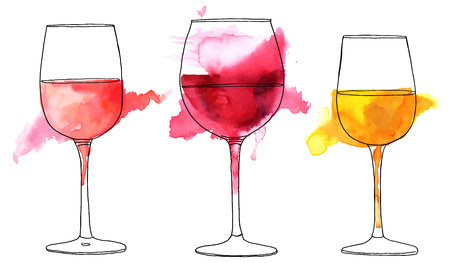 Ilustración de Set of vector and watercolor drawings of wine glasses - Imagen libre de derechos
